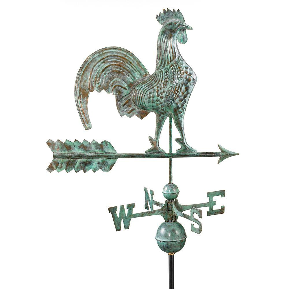 Rooster Weathervane - Blue Verde Copper