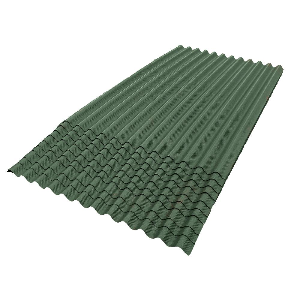 6 ft. 7 in. x 4 ft. Asphalt Corrugated Roof Panel in Green (10-Pack)