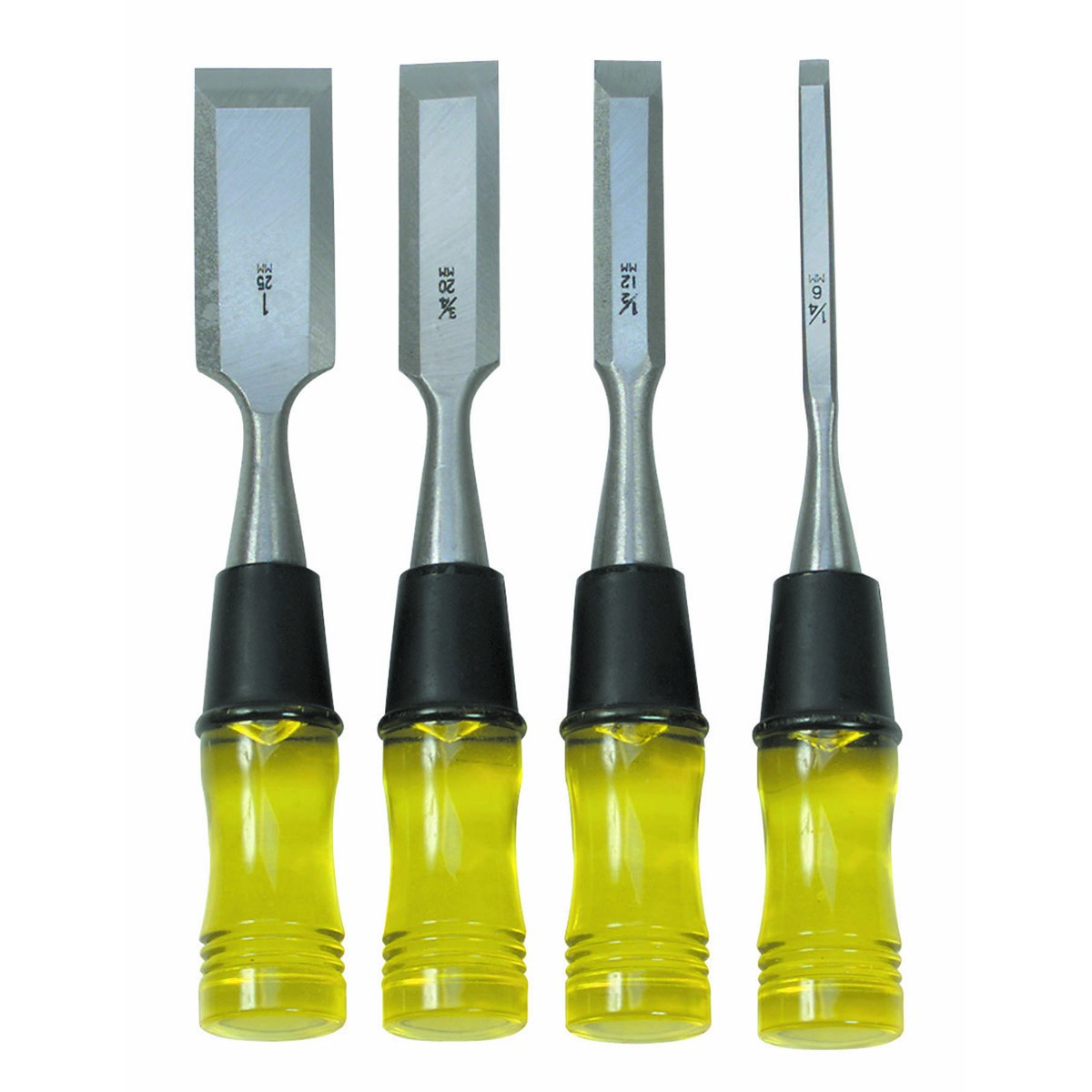 Wood Chisel Set with Clear PVC Handle 4 Pc