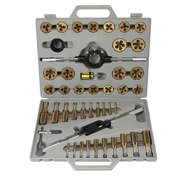 45 Pc Titanium Nitride Coated Alloy Steel SAE Tap & Die Set